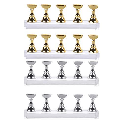 Minkissy 4 Sätze Acryl Nagel Display Ständer Nagelspitze Übungsständer Magnetnagel Übungshalter Fingernagel DIY Nail Art Ständer Nail Art Werkzeug für Shop Home Salon (Goldenes Silber)