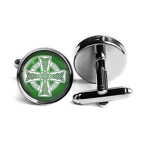 Celtic Cross White on Green Rhodium Plated Silver Cufflinks