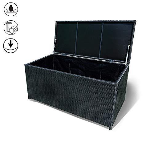 NAIZY Polyrattan Garten Kissenbox, Auflagenbox Gartenbox Aufbewahrungsbox mit verstärktem Deckel und Gasdruckfedern 115 x 55 x 57cm Schwarz