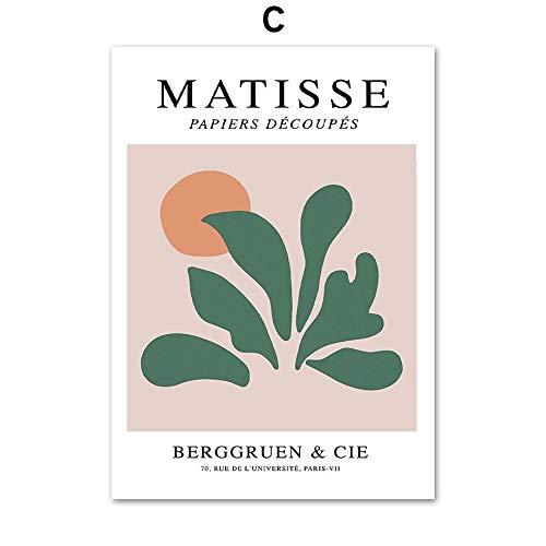 HJGB Matisse hoja geométrica abstracta retro pared arte lienzo pintura nórdico carteles e impresiones sala decoración lienzo pintura C 30x40cm