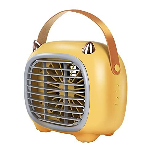 Raffreddatore d'Aria Mini Condizionatori Portatili Umidificatore Raffreddatore d'Aria Ventole 2000mAh Ricaricabile Evaporativo a 3 velocità modalità Vento,Yellow