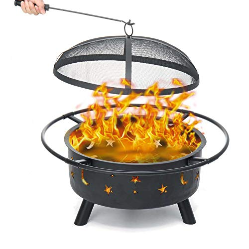 AJIU 30In Fire Pit, Outdoor Metal Firepit Bonfire Wood Burning Heater Stove Backyard Patio Garden Outdoor Camping Firepit with Spark Screen And Fireplace Poker