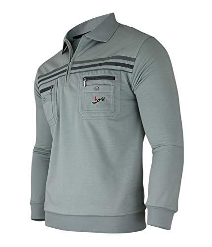 Soltice Herren Langarm Sweatshirt mit Kragen, Sweatpullover, Polohemd aus Baumwoll-Mix(M bis 3XL) (L, [M2] Slategray)