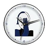 Reloj de Cuarzo de Silencio for la decoración de la Oficina en el hogar,Reloj de Pared de Arte Azul de Klein,Reloj de Dormitorio no ticture con batería Creativa (Color : Black Frame, tamaño : 14in)