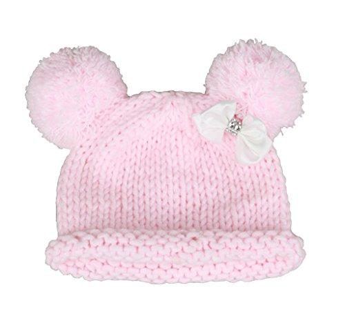 Bestknit Bonnet à pompon tricoté au crochet décoré d'un nœud pour bébé - rose - S
