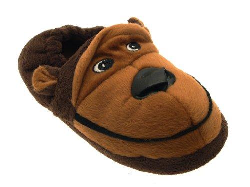 LD Outlet Boys Girls Kids Childrens Novelty Slippers 3D Slipper Boots Plush Furry Brown Monkey Xmas Gift Size UK 11-12