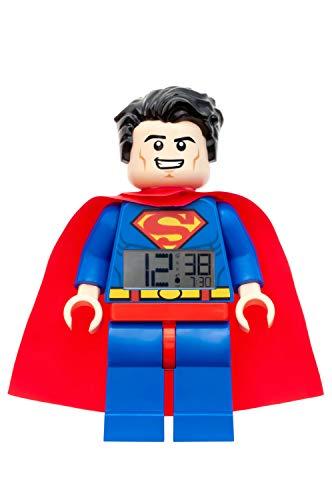 Wecker Lego Superman, digitales LCD Display mit Hintergrundbeleuchtung, Weck- und Schlummerfunktion, ca. 24 cm