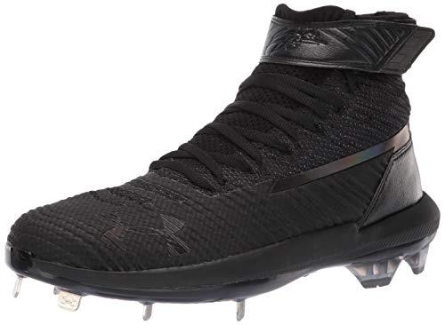 Under Armour Men's Harper 3 Mid ST Metal 1 Baseball Shoe, Black (001)/Black, 7