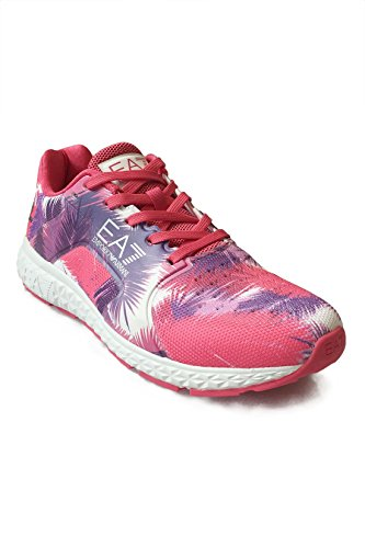 Emporio Armani EA7 Damen Trainings- / Fitnessschuh C2 Light Spirit Graphic U - leichte Sneaker Low, Laufschuhe im Mesh-Design mit Allover Palmen-Print - Pink/Lila, Größe:39 1/3;Farbe:Mehrfarbig
