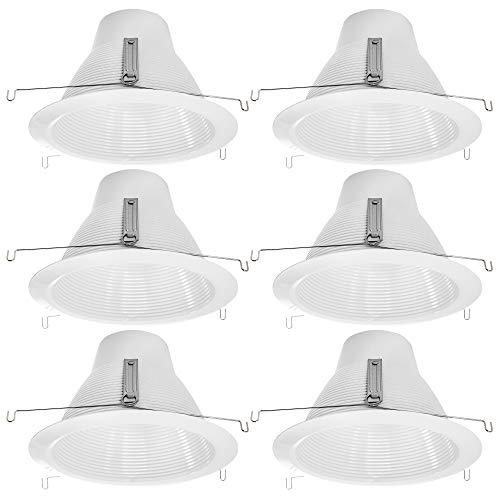 [6-Pack] PROCURU 6-Inch Recessed Can Light Metal Trim, Air-Tight, IC-Rated, Cone Baffle Style, White