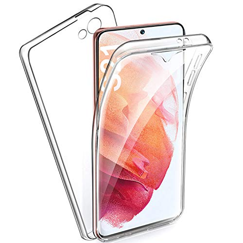 Hülle Für Samsung Galaxy S21 Hülle Silikon 360 Grad transparent Handyhülle, Silikon Crystal Full Schutz Cover 2in1 PC Rückseite. Cover Hülle 360 Staub- & sturzsicher Für S21
