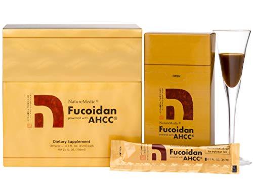 NatureMedic Fucoidan AHCC Brown Seaweed Immunity Supplement with Organic Mekabu Mozuku Agaricus 50 Liquid Packets/Box Made in Japan [New Package] (1Pack)