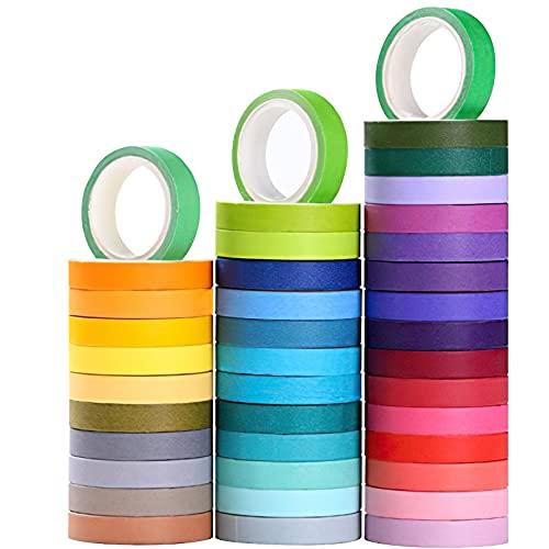 Colección de 40 rollos de cinta washi, cintas adhesivas decorativas para manualidades, para niños y para envolver regalos