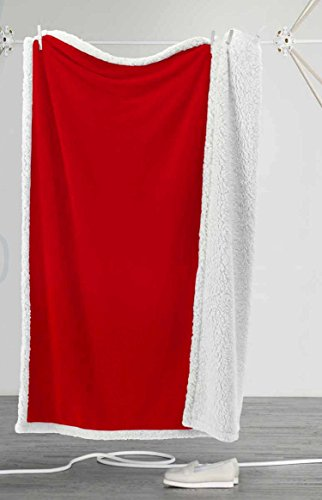 Centesimo Web Shop Plaid AGNELLATO 130x160 cm SHEEPA Agnello Fantasia Natalizia Rosso Tinta Unita Natalizio -