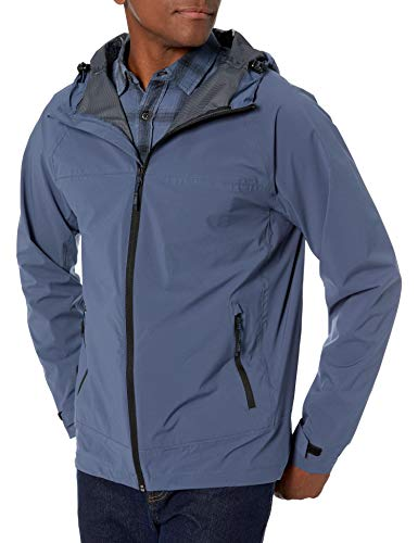 Hawke & Co Men's Mesh Lined Hooded Jacket   Water and Rain Resistant Performance Shell, Vintage Indigo, Large