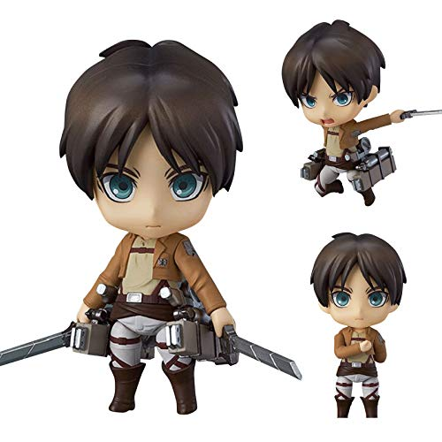 QAHEART Captain Levi Ackerman Figure Q Version Attack On Titan Figure 10cm PVC Anime Character Model Standing Statue Handmade Japanese Anime Collection Figurines Doll Toys Gifts for Kids Adult