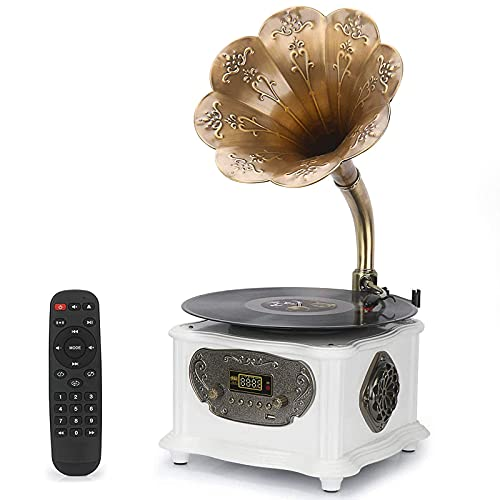 Retro Phonograph Record Player Bluetooth Speaker with with Copper Horn Nostalgic Vintage Vinyl Gramophone Turntable for Home Decoration Aux-in USB (with Record Player White)