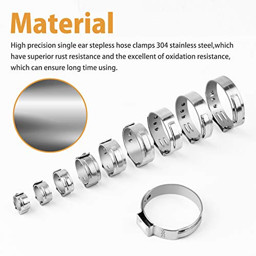 VIGRUE 115Pcs 304 Stainless Steel Single Ear Hose Clamps,6-28.6mm Stepless Hose Clamps with Ear Clamp Pincer,Cinch Rings Crimp Hose Clamps Assortment Kit for Water Pipe, Plumbing and Automotive Use