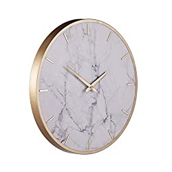 Southern Enterprises Lenzienne Wall Clock, White, Gold, Gray