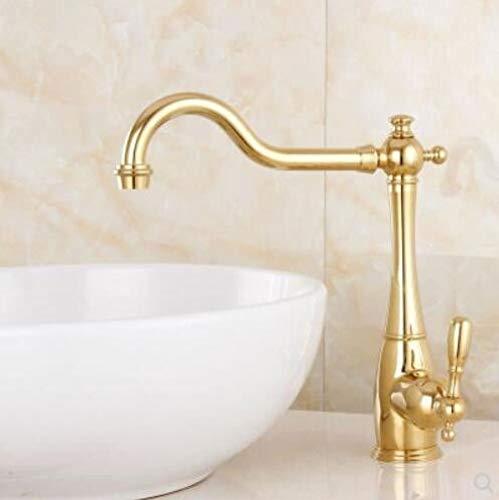 Zyunran-Rubinetti per Decorare europeo rame rame oro bacino bacino pentola rubinetto dell'acqua calda americano sottile tubo girevole lavello della cucina rubinetto