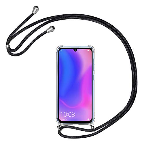 AROYI Handykette Handyhülle für Huawei P30 Pro Hülle mit Kordel zum Umhängen Necklace Hülle mit Band Schutzhülle Transparent Silikon Acryl Hülle für Huawei P30 Pro -Schwarz