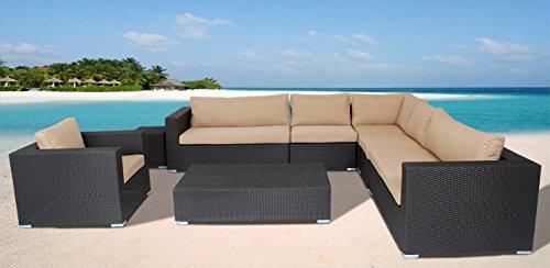 husen Outdoor Furniture Patio Sofa 8 Piece Sectional Table Chair Wicker (Khaki)