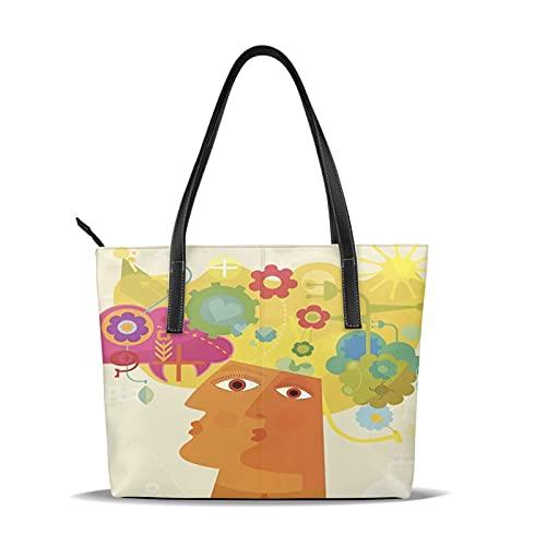 レディースハンドバッグ 革 人気 オシャレ ポジティブシンキングは、精神的な思考、言葉、イメージを認める心構えです。 手提げバッグ レザー 女性用 通勤 旅行 ビジネス 誕生日 バレンタインデー プレゼント