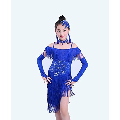 Vestido de baile latino para niñas Borla Sparkling Latin Tango Fringe vestido de baile Trajes de baile para niños Ropa de baile latino Chicas Top Lum Samba Práctica de baile Trajes de baile para niños