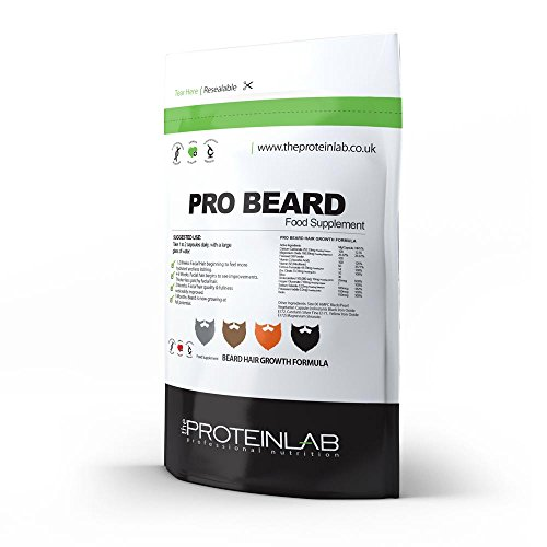 Pro Beard Growth Capsules, Pills, Tablets, x 100, Facial Hair Supplement - 100 % Natural UK Made