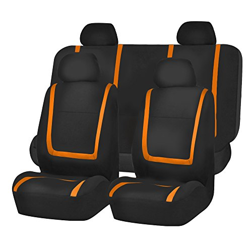 FH Group FB032ORANGE114 Orange Unique Flat Cloth Car Seat Cover (w. 4 Detachable Headrests and Solid Bench)