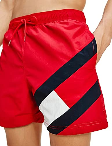 Tommy Hilfiger Herren Sf Medium Drawstring Badehose, Rot (Primary Red), Small
