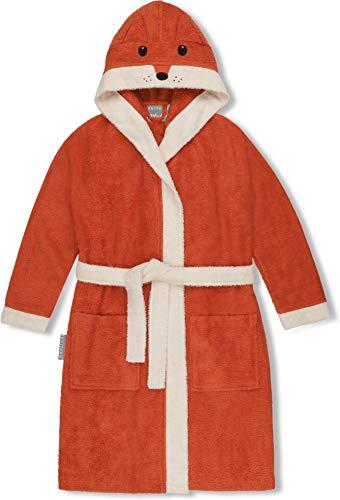 normani Kinder-Bademantel aus 100% Bio-Baumwolle mit Kapuze und Tierbestickung -schadstoffreies Material Farbe Orange/Fuchs Größe 134/140