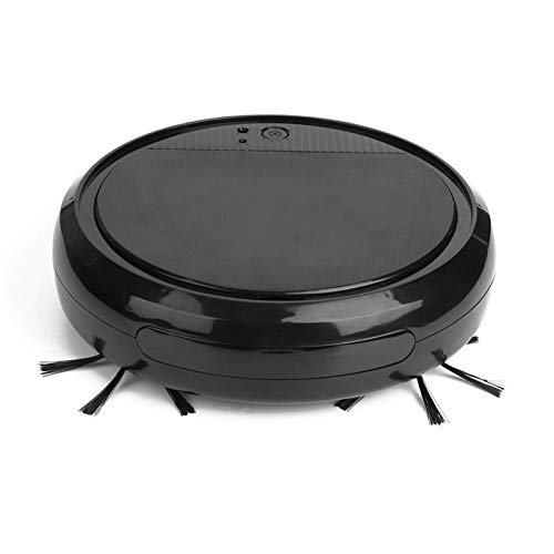 AMONIDA Robot Aspirador silencioso, Robot de Barrido UV, Secado en húmedo para Pelo de Mascotas Alfombras Pisos Duros Polvo Flotante(Black)