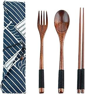 1 Set Wooden Flatware Tableware Cutlery Set Travel Utensils Tied Line Reusable Flatware, Wooden Fork Spoon Chopsticks