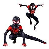 Disfraz Spiderman Halloween Navidad Spider-Man Into The Spider-Verse Miles Morales Ninos Cosplay Costume Y Mascara (M 130)