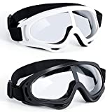 Kids Protective Goggles Eye Protection Safety Glasses Goggles 2 Pack for Kids Shooting Games, Black and White