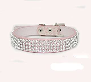 haoyueer Cute Dazzling Sparkling Elegant Fancy Crocodile PU Leather Bling Rhinestone Crystal Jeweled Pet Cat Dog Puppy Collar