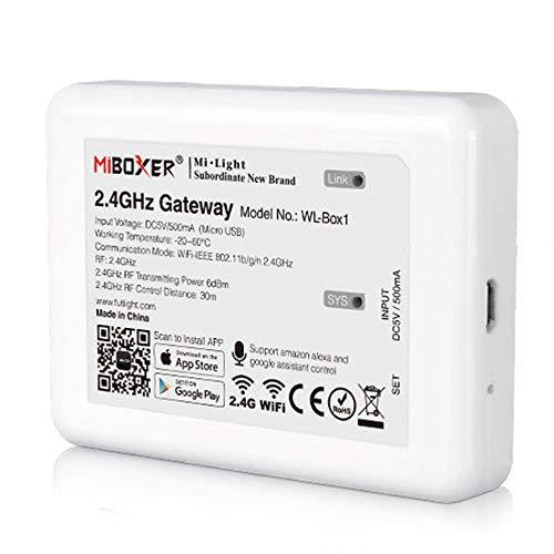 MiBoxer Mi-Light WL-Box1 Gateway Bridge zur Steuerung von LED Steuergeräten Controllern Lampen Leuchtmittel mit Smartphone, Amazon Echo Alexa, Google Assistant, Tuya, IFTTT Siri Shortcuts