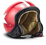 "SOXON® SP-301 Star ""Red"" · Jet-Helm · Motorrad-Helm Roller-Helm Scooter-Helm Moped Mofa-Helm Chopper Retro Vespa Vintage Pilot Biker Helmet Brille · ECE 22.05 Schnellverschluss Tasche M (57-58cm)"
