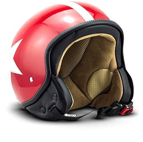 "SOXON® SP-301 Star ""Red"" · Jet-Helm · Motorrad-Helm Roller-Helm Scooter-Helm Moped Mofa-Helm Chopper Retro Vespa Vintage Pilot Biker Helmet Brille · ECE 22.05 Schnellverschluss Tasche L (59-60cm)"