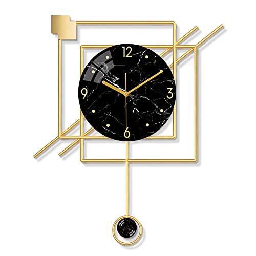 QFNB - Reloj de pared de metal nórdico, moderno y minimalista, decoración artística, silenciosa, creativa, con números arábigos, para sala de estar, dormitorio, cocina, oficina