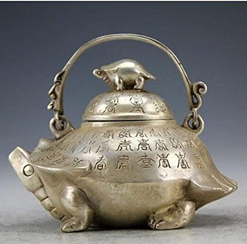 YANGYUE Oriental Vintage Handwork Silver Copper Portable Tortoise Teapot