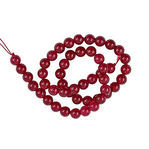 Vektenxi Natürliche Glatte Rubinroter Jade Edelstein Runde Lose Perlen Strang Stein Perle Kette DIY Kristall Halbzeuge Für Schmuck Machen Rot