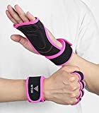 WYOX Crossfit Weight Lifting Wrist Straps Workout Gloves Women Men - Washable Ventilated Full Palm Protection - Extra Grip for Pull Ups, Cross Training, Fitness, WODs & Weightlifting (Pink, S/M)