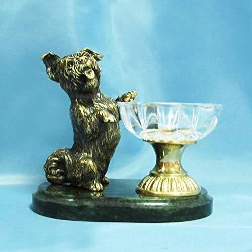CTOC 5.103 Bronzefigur Hund auf Hinterbeinen, handgefertigt, auf natürlichem Ural Fels, Briefbeschwerer, tolles Geschenk und Dekoration