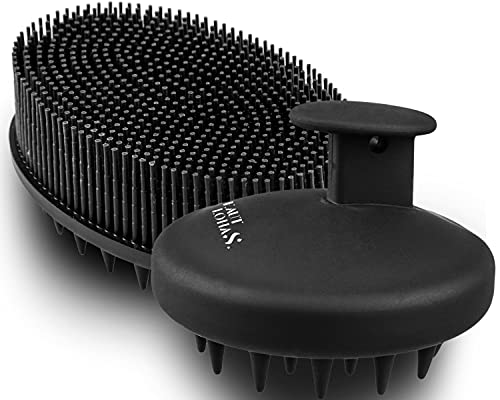 Scalp Massager Shampoo Brush & Body Brush with Soft Silicone Bristles, Silicone Scalp & Body Scrubber for Use in Shower, Premium Silicone Loofah, Head Scrubber for Women, Men, and Kids (Black)