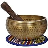 La meditaci/ón Cuenco Tibetano con la talla de la mano y pouch Peque/ño protectora TALLA-1-