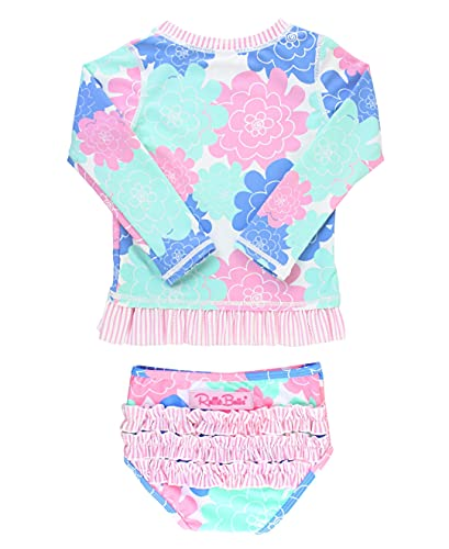 RuffleButts Baby/Toddler Girls Pastel Floral Long Sleeve UPF 50+ Rash Guard Bikini Swimsuit - 12-18m