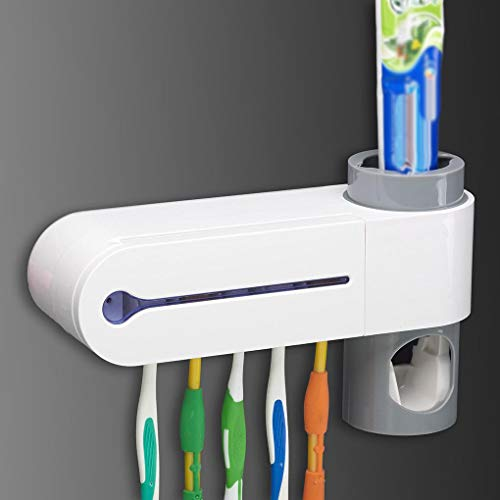 Lorjoyx Dispensador automático de la Crema Squeeze Cepillo de Dientes esterilizador del Cepillo de Dientes Titular Limpiador Antibacterial baño Luz UV Conjunto