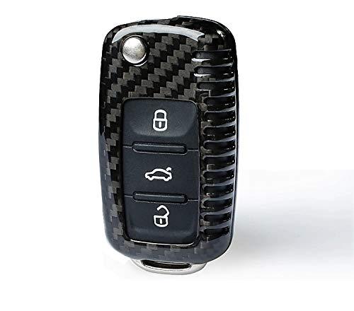 MAX CARBON Compatible con VW Golf Polo Passat Tiguan Touran Beetle Skoda Yeti Octavia Fabia Superb Seat Leon Ibiza Alhambra verdadero Carbon Key Case Carcasa Carcasa protectora